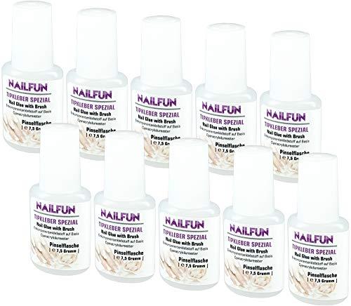 10er Set NAILFUN Tipkleber [10 x 7.5 Gramm] Nagelkleber Flasche mit Pinsel zum einfachen auftragen