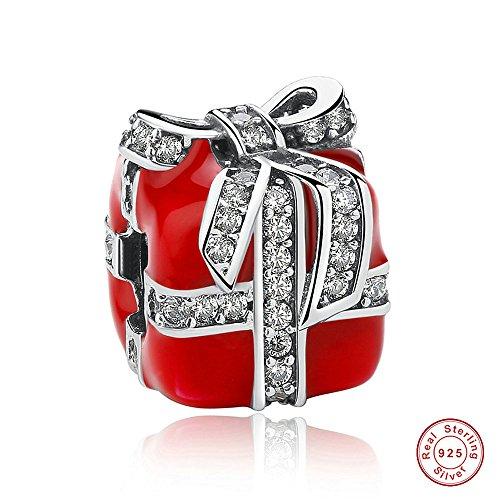 MOCCI 2016 Natale rosso scintillante regalo smalto e Clear CZ 925 argento fai da te adatto per originale Pandora bracciali gioielli moda di fascino