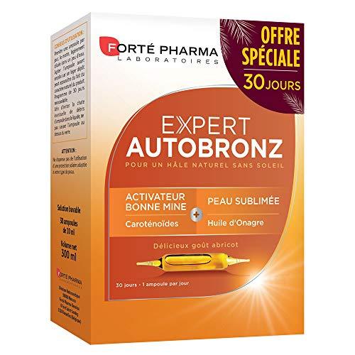 Forté Pharma - Expert AutoBronz | Complément Alimentaire à base de Carothénoïdes et Huile d Onagre - Effet Bonne Mine | 20 ampoules