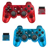 BicycleStore 2 Pack Wireless Controller for PS2 Playstation 2.4G Gamepad Joystick Remote with Dual Shock Vibration Sensitive Control Wireless Receivers (ClearBlue and ClearRed).