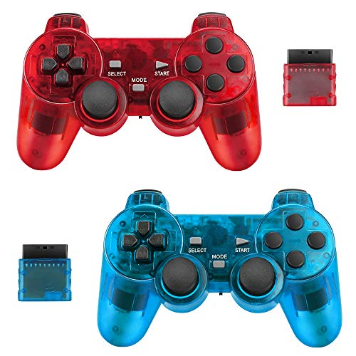2er-Pack Wireless Controller für Sony PS2 Playstation Achort 2.4G Gamepad Joystick Remote mit Dual Shock Vibration Sensitive Control Wirelless (Klares Blau und klares Rot)