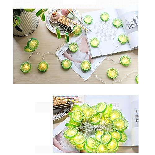 Cadena de luces LED Mtawou con frutas, cadena de luz decorativa, disco de limón, resistente al agua, funciona con pilas, cadena de luces navideñas para habitación, Navidad, decoración de fiesta