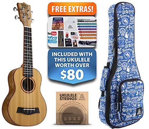 Tuscan Sun Cedar Soprano Ukulele (15-FREE-Bonuses) Compression Sponge Case, Aquila Strings, Felt Picks, Tuner,...