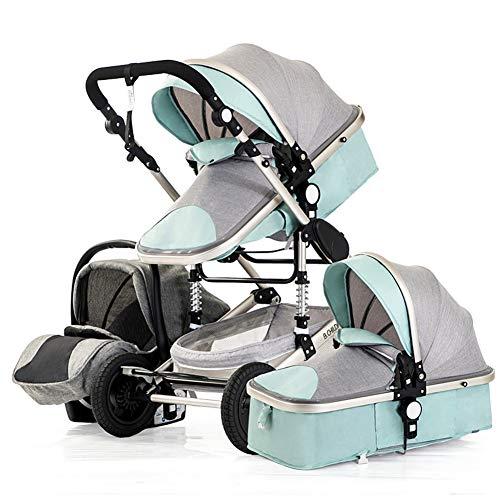 Metermall Home 3 in 1 multifunctionele 4 ronde schokbestendige opvouwbare kinderwagen voor pasgeborenen