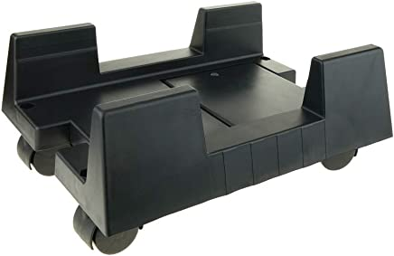 PC stand for computer support with wheels in black color