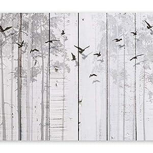 murando Fotomurales Tablas 350x256 cm XXL Papel pintado tejido no tejido Decoración de Pared decorativos Murales moderna de Diseno Fotográfico Pajaro gris Arboles f-C-0178-a-a