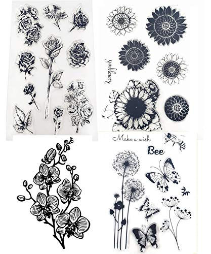 4 Sheets Set Rose Flower Sunflower Dandelion Phalaenopsis Butterfly Bee Clear Stamps for Crafting Card Making Birthday Clear Rubber Stamps Block Set
