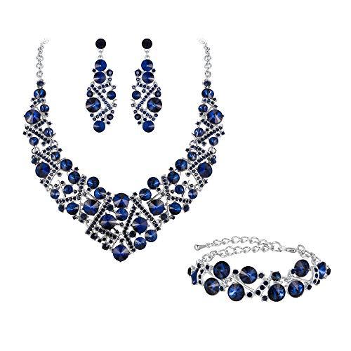 Flyonce Rhinestone Crystal Bridal Jewelry Set for Women, Wedding Party Necklace Earrings Bracelet Navy Blue
