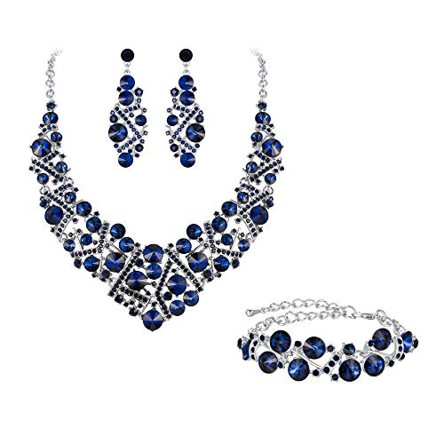 Flyonce Rhinestone Crystal Bridal Jewelry Set for Women, Wedding Party Necklace Earrings Bracelet Navy Blue