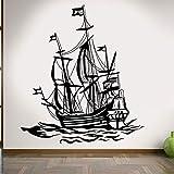 supmsds Vintage decoración náutica para el hogar Barco velero océano Barco de Pesca mar Marino Olas Vinilo Etiqueta de la Pared para Sala de Estar Muebles 79x89 cm