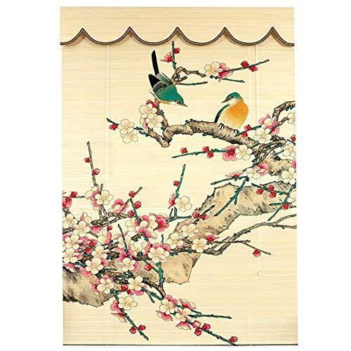 Persianas enrollables Persiana Estores enrollables Interior Sombrilla, Sombras de Bambú con Cenefa Y Estampado de Flores, 80cm / 100cm / 120cm / 140cm de Ancho (Size : 80×100cm)
