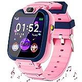 Smartwatch Niños - MP3 Música 14 Juegos Niños Reloj Inteligente llamada Chat de Voz SOS linterna Cámara Vídeo Digital Pantalla Táctil HD Deporte Reloj de Pulsera Digital Para Niños De 4-12 Años (Rosa)