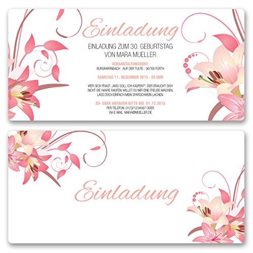 (30 x) Einladungskarten Geburtstag Blumen Geburtstagseinladungen Karte Einladungen