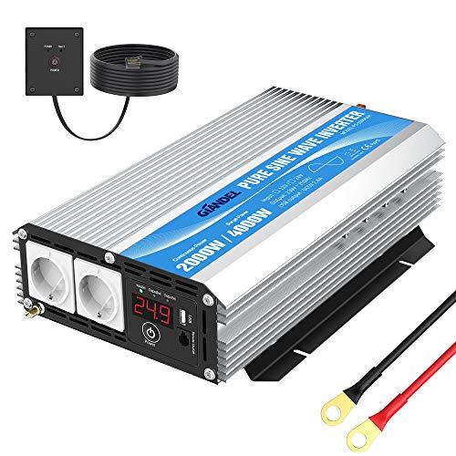 GIANDEL 2000W Inversor de Corriente de Onda sinusoidal Pura Convertidor DC 24V a AC 220V 230V con Salidas de AC Dobles con USB y Pantalla LED