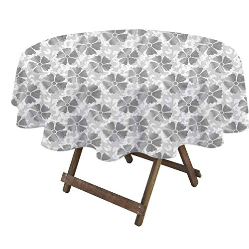 prunushome Floral Tabletop Cloth Digital Style Flower Petals with Striped Lines with Butterfly Figures Illustration for Dining, Kitchen, Wedding and Parties Grey White | 60' Round