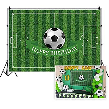 CSFOTO Polyester 5x3ft Soccer Backdrop Football Field Birthday Backdrop Birthday Party Background for Photography Soccer Sport Bday Photo Wallpaper