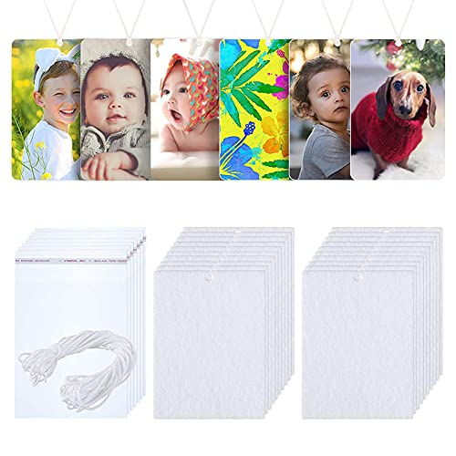 50 Pieces Air Freshener Sheets Sublimation Blank, Room Air Freshener DIY Felt Scented Sheet White Fragrant Sheets with 100 Pieces Bags and Elastic Rope for Car Interior Use and Decor