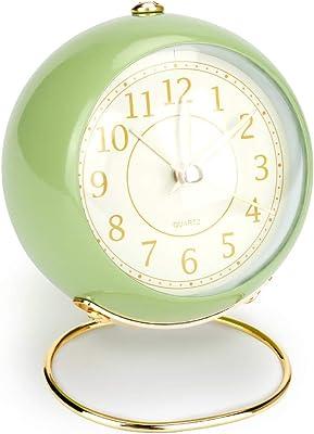 CestMall 目覚まし時計 アラーム 緑 3インチ 置き時計 クォーツ時計 針時計 卓上時計 連続秒針 大音量 電池式 夜光 超静音 おしゃれ&可愛い 学生 男の子 女の子 大人 自宅の寝室・書斎/オフィス/旅行に最適 グリーン