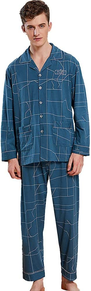 FMOGG Men's Pajama Set Cotton Long Sleeve Sleepwear Lightweight Button Down Tops and Pants/Bottoms Pj Set Loungewear