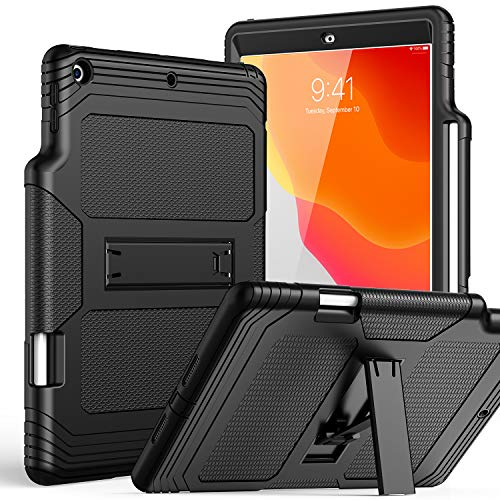 SKYLMW iPad 7th Generation Case with Pencil Holder, iPad 10.2 Cover,Shockproof Anti-dust Anti-Scratched Rubber Hard Plastic Drop Protection Kickstand Protective Cases for iPad 10.2 inch 2019,Black