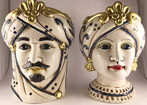 NonsoloFimo Collezione 2020 Coppia Testa di Moro Regina in Ceramica Harmony Decorata a Mano,Altezza 13 cm BOMBONIERA Matrimonio