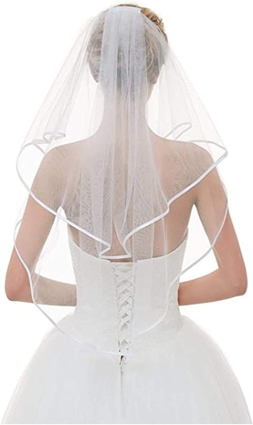 LittleB Wedding Bridal Veil 2 Tiers Waist Length Short Chapel Bride Tulle Hair Accessories with Mental Comb and Cute Edge