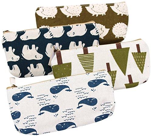 FIVOENDAR Adorable Forest and Animal Linen Pencil Case Pen Zipper Bag Coin Organizer Makeup Costmetic Bag Pouch - Set of 4