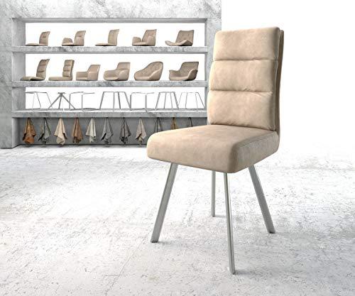 DELIFE Stuhl Pela-Flex 4-Fuß oval Edelstahl Vintage Beige