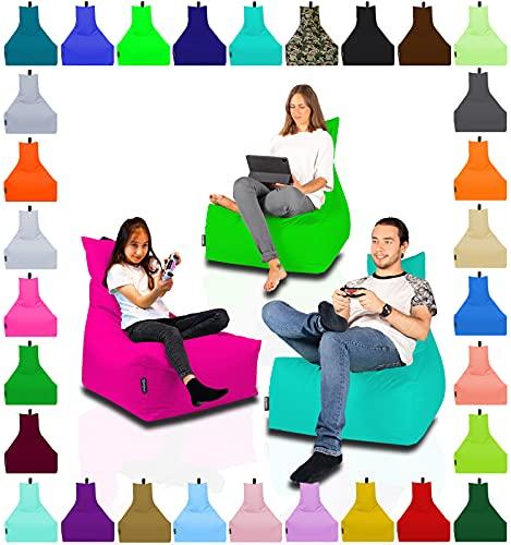 Lounge Sitzsack Liege Beanbag 32 Farben wählbar 90cm(Ø) Rückenlehne Bodenkissen Indoor Outdoor Sitzsäcke Gaming Kinder Bean Bag Erwachsene Riesensitzsack gefüllter Sessel(Anthrazit)