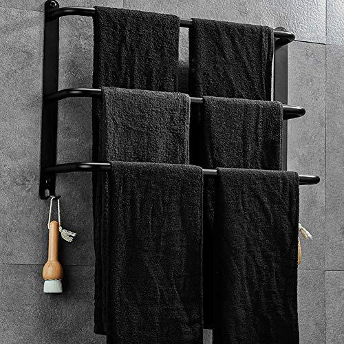GLEYDY 3-Lagiger Handtuchhalter, Handtuchständer Spiegelpolieren Aus Edelstahl 304,Schwarz,70cm