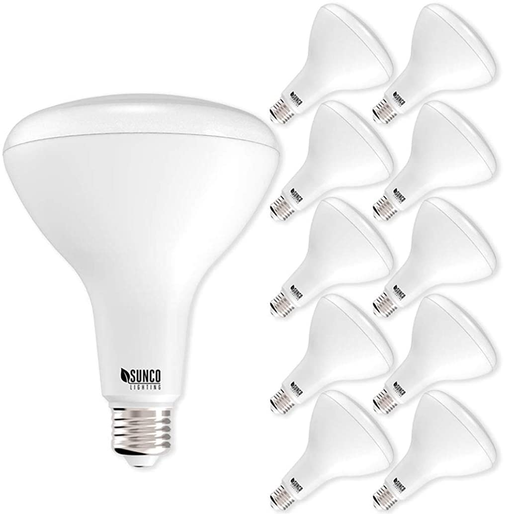 Sunco Lighting 10 Pack BR40 LED Bulb, 17W=100W, Dimmable, 4000K Cool White, E26 base, Flood Light for Home or Office Space - UL & Energy Star