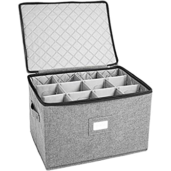 Wine Glass Storage Holds 12 Red or White Wine Glasses Fully-Padded Inside with Hard Top and Sides Pack of 1 Grey
