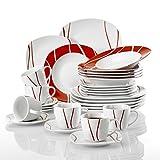 MALACASA, Série Felisa, 30pcs Service de Table Complets Porcelaine, 6 Tasses, 6 sous-Tasses, 6 Assiettes à Dessert, 6 Assiettes à Soupe Creuse, 6 Assiettes Plates Plat pour 6 Personnes