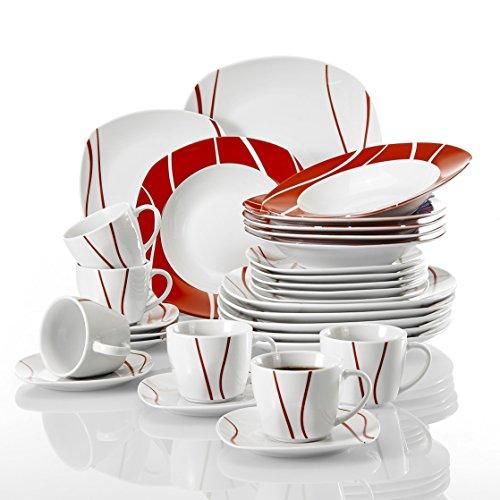 MALACASA, SerieFelisa,30 piezas Juego de Vajillas de Porcelana Platos de Vajillas 6...