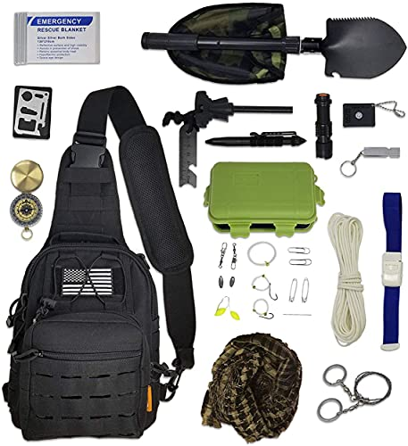 Neue 2021 verbesserte militärische Survival Kits 29-in-1 Mehrzweck-Notfall Werkzeug mit Kompass Schaufel Rucksack Feuerstarter Taschenlampe für Wandern Camping Klettern ZS-10
