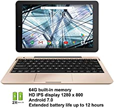 RCA 10.1 inches HD IPS 1280 x 800 Touch Screen 64GB Quad-Core Tablet w/Extended Battery WiFi Keyboard Android 7.0 (Gold) (Renewed)