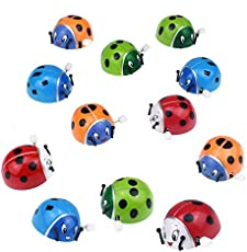 Livoty 12/1 Pack Dazzling Bounce Toys Flipping Wind-up Lady Bugs Great for Parties and Favor Bags (12Pcs)