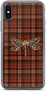 joyganzan Dragonfly in Amber Inspired Plaid w. Dragonfly Case Cover Compatible for iPhone (7 Plus/8 Plus)