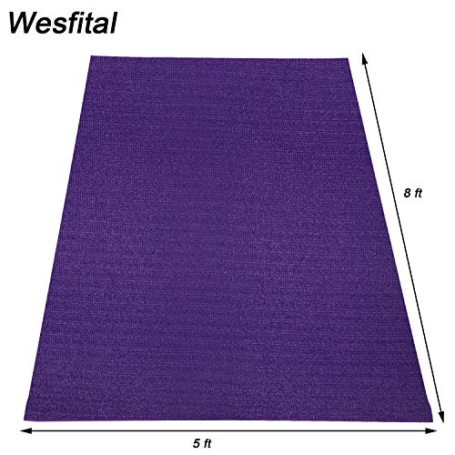 Wesfital Extra Large Exercise Yoga Mat8'x5'(96'x 60')x7mm Home Gym Floor Workout Mats High Density Non-Slip Durable Cardio Fitness Mat (Lavendar color)