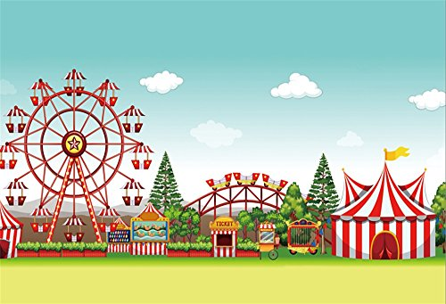 LFEEY 7x5ft Circus Photography Backdrop Kids Amusement Park Ferris Wheel Red Tents Photo Background Studio Props Baby Boys Children Birthday Party Decoration Wallpaper