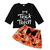 GenericBrands Toddler Kids Baby Girls Halloween Letter Print Tops+Cartoon Bow Skirt Set