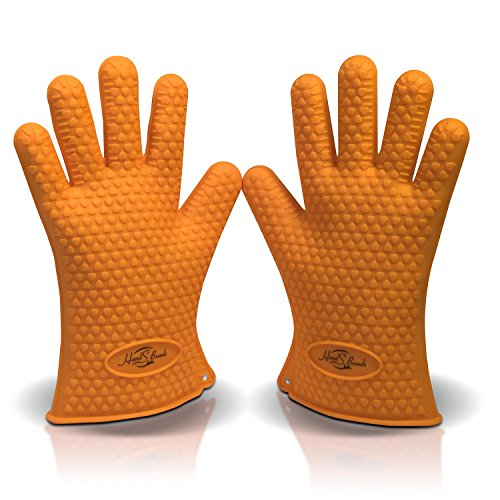 Hands Brands Silicone BBQ Grill Gloves - Heat Resistant - Best Oven Gloves - Great for Cooking, Boiling, Barbecue Great for Outdoor and Kitchen Use