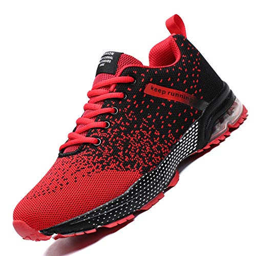 Zeoku Mens Running Shoes Fashion Breathable Air Cushion Sneakers Lightweight Tennis Sport Casual Walking Athletic for Men Outdoor Jogging Shoes(Red,12)