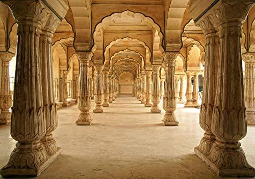 wandmotiv24 Fototapete Indien-Tempel,Jaipur, XXL 400 x 280 cm - 8 Teile, Fototapeten, Wandbild, Motivtapeten, Vlies-Tapeten, Raumerweiterung, Säulen, Asia M0272