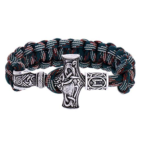 Leefish - Pulsera vikinga de runas Mjolnir, pulsera de