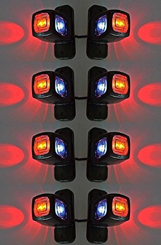 8 X latérales arrière Triple Fonction Feux de gabarit 24 V 12 V Remorque van Camion caravane Châssis pour camping-car Orange Blanc Rouge
