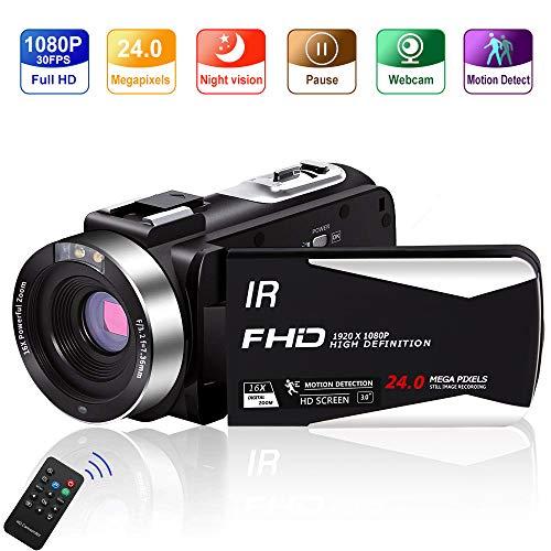 Video Camera Vlogging Camera Camcorder Full HD 1080P 30FPS 24.0 MP IR Night Vision YouTube...