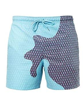 Gets Men Summer Swimming Trunks Funny Color Changing Swim Trunks–Temperature Sensitive Beach Swim Shorts for Men  Blue,XL