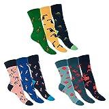 Footstar Damen und Herren Bunte Motiv Socken (9 Paar), Lustige Baumwoll Socken - Animals 36-40