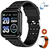 ANCwear Fitness Tracker Watch Activity Tracker with Heart Monitor and Blood Pressure, Waterproof Bluetooth Smart Watch with Sleep Monitor & SMS Call Notification, Pedometer Watch for Men Women Black